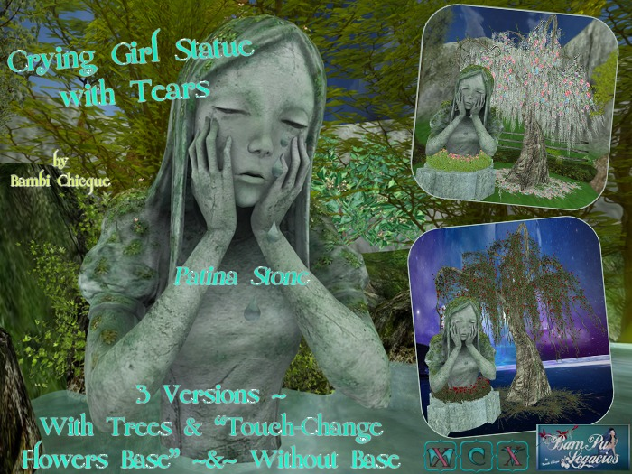 CHANNING CRYING GIRL wTEARS STATUE wTrees & Florals~2 Texture Changes~