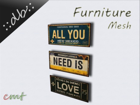 ::db furniture:: Rusted Metal Signs All you need is Love