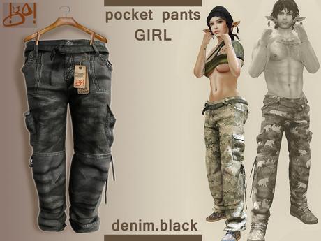 !gO! Pocket Pants Girl -Denim black-