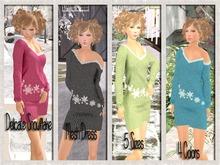{Mesh} Delicate Snowflake Sweater Dress