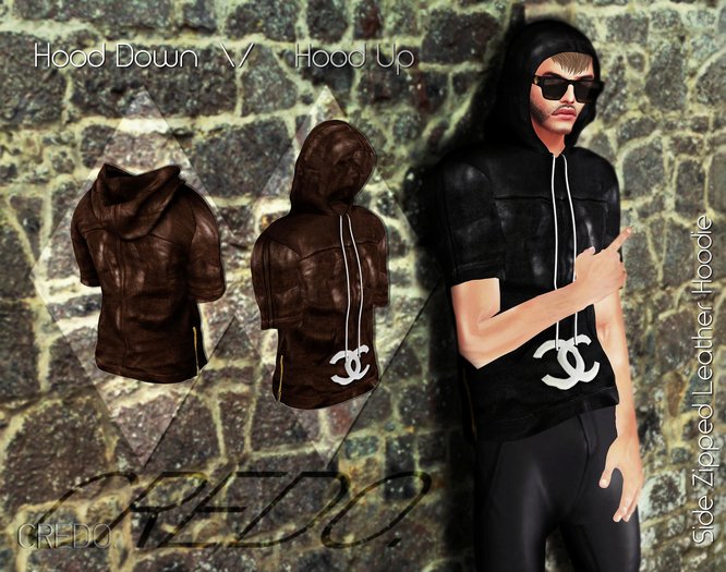 CREDO  Brown_Leather_Hoodie