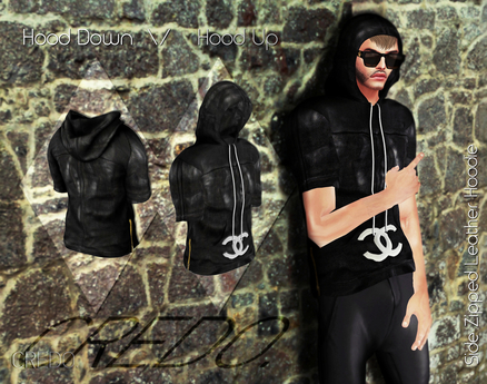 CREDO  Black_Leather_Hoodie