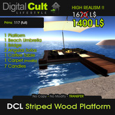 *** DCL Striped Wood Platform with furniture and candles