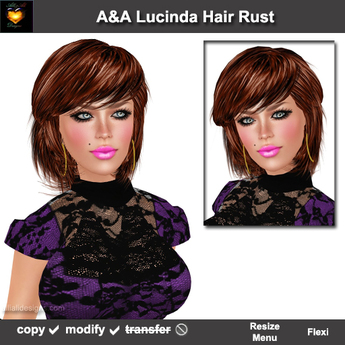 A&A Lucinda Hair Rust (Special Color). Cute womens fluffy sexy  flexi hairstyle. Promo Price!