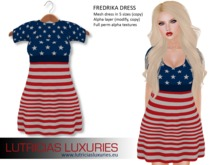 Fredrika Independence day dress, freebie for 4th of July celebrations. Gift to patriots!