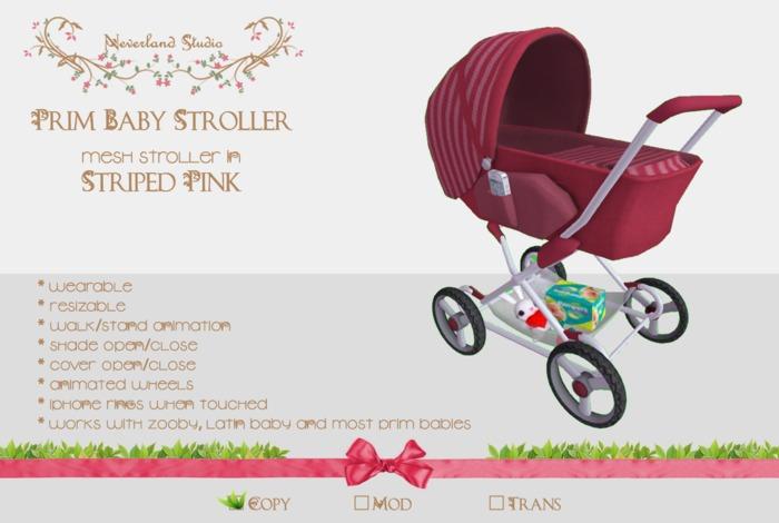 Neverland - Prim Baby Stroller - Striped Pink