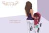 Prim baby stroller ad stripedpink 1