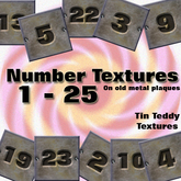 Tin Teddy Textures - Handy Metal Numbers - 1-25 - ideal for rental numbering