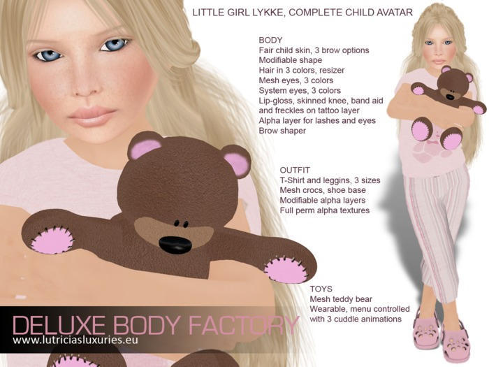 Complete child avatar, Little girl Lykke with modifiable shape, skin, hair, clothes, eyes, teddybear and SMB HUD (DEMO)
