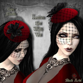 ~Black Arts~Laima Mesh Hat with Veil Red
