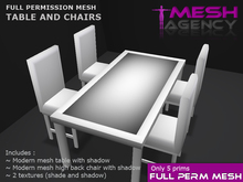 MODERN TABLE AND 4 CHAIRS (1 prim each) FULL PERM