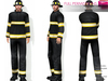 CLASSIC RIGGED MESH Men's Male Black & Yellow Fireman Jacket with Pants & Helmet & Boots Uniform Outfit