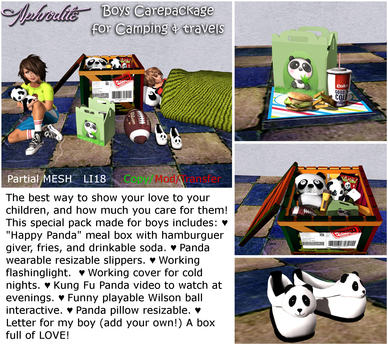 Aphrodite Parents camping/travel care package (boys)