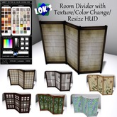Lok's Wooden Room Divider with Texture/Color Change/Resize - Privacy Screen