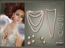 [< Lazuri >] Classic Pearls Multistrands Long Necklace Earrings