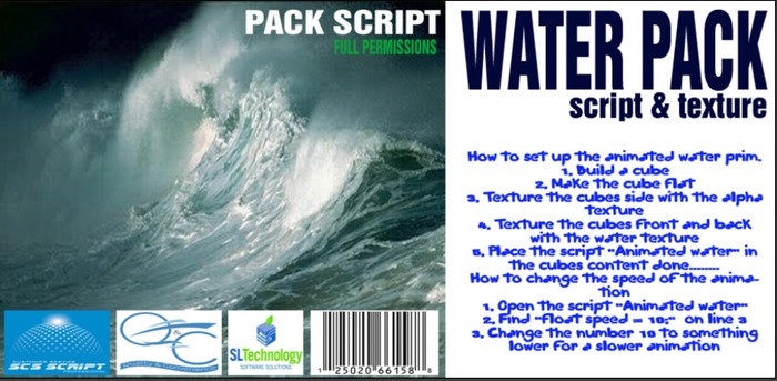 SCS SCRIPT - WATER Pack SCRIPTS and TEXTURES - animated water  full perm