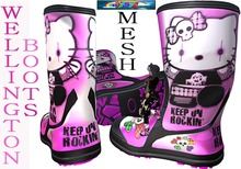 %:..ChimHair..:% Wellington Boots Mesh Emo Gothic Rock Cat Pink Grunge Rain