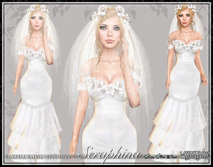 [Wishbox] Seraphina ON SALE - White Wedding Dress with Roses and Veil