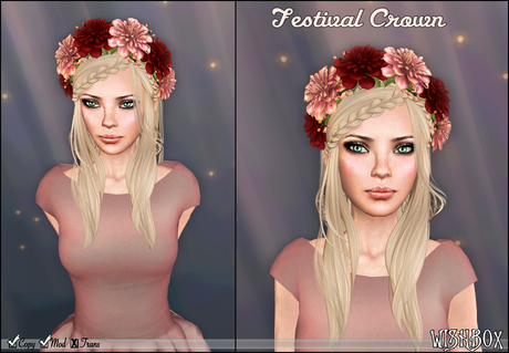 [Wishbox] Festival Crown (Multi) - Multicolored Flower Wreath / Garland for Hair Headpiece