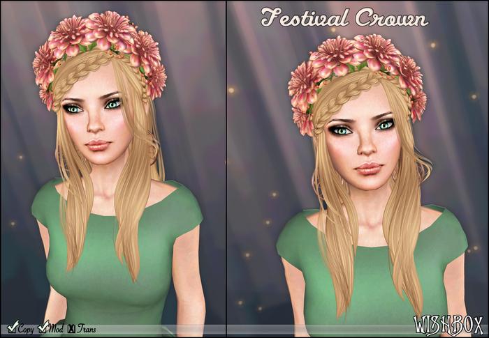 [Wishbox] Festival Crown (Antique) - Pale Pink Flower Wreath / Garland for Hair Headpiece