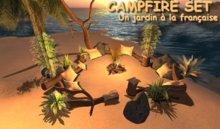 CAMPFIRE SET - tiki campfire - camp fire - cuddle camp - sculpted campfire