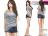 FULL PERM CLASSIC RIGGED MESH Women's One Off Shoulder Short Sleeve Tucked T-Shirt Tee - 4 TEXTURES