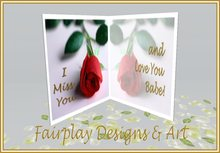~FDA~ I Miss You & Love You Babe Greeting Card~