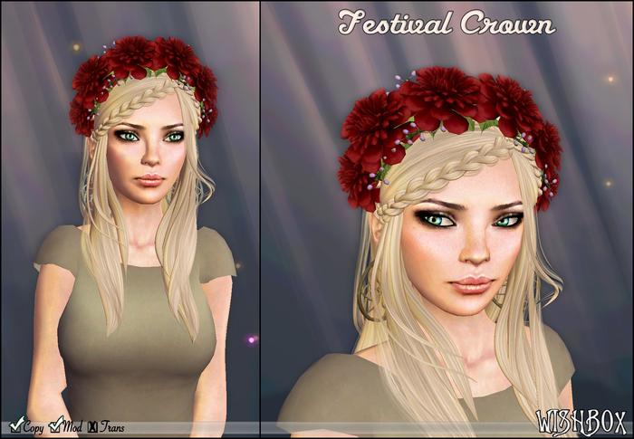 [Wishbox] Festival Crown (Red) - Flower Wreath / Garland for Hair Headpiece