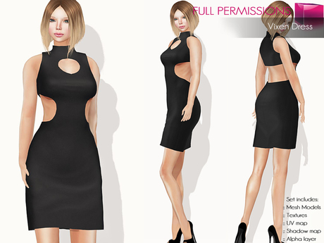 FULLPERM CLASSIC RIGGED MESH Women's Front and Back Cut Out Sleeveless High Neck Mini Black Cocktail Dress
