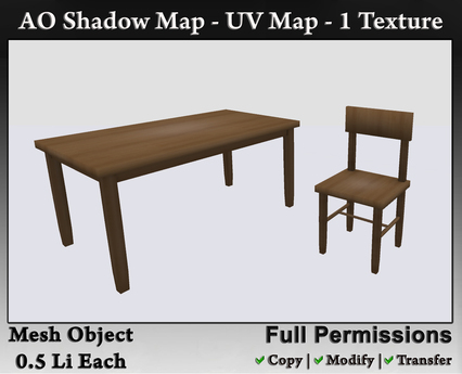 Second Life Marketplace - Full Perm - [Mesh] Basic Table & Chair