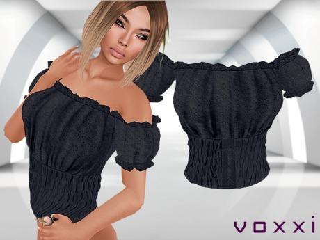 .::voxxi::. [Luba] Peasant Blouse Black