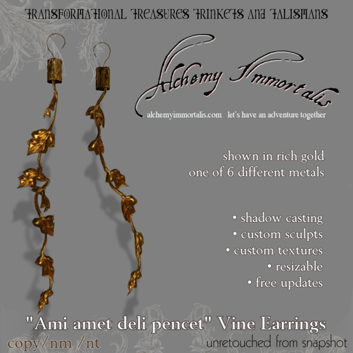 ) AI ( - Ami amet deli pencet Vine Earrings (Colour-Changing/Resizable) - $125 on sale for $60!