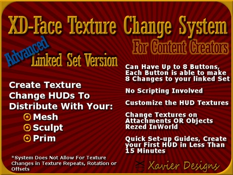 XD-Gadgets - [Adv] Linked Set Face Texture Changer System - Content Creator Texture Change HUD for MESH SCULTP or PRIM