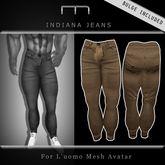 (M) Indiana Jeans - Brown (For L'uomo Mesh Avatar)
