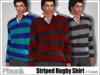 [Phunk] Mesh Men's Striped Rugby Shirt
