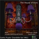 Gothic purple Chandelier set boxed