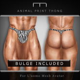 (M) - Animal Print Thong - Zebra (For L'uomo Mesh Avatar)