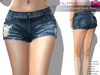 FULL PERM CLASSIC RIGGED MESH Women's Denim Ripped Mini Sexy Jean Shorts - 2 TEXTURES Navy Black