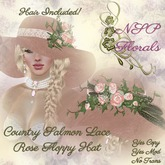 NSP Country Salmon Lace Rose Floppy Hat (blond)