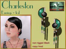 Bliensen + MaiTai - Charleston - Art Deco Earrings - Teal