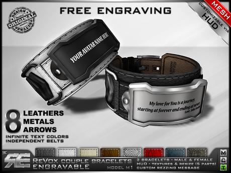 **RE** ReVoX Couple Bracelets M1 Engravable (FREE ENGRAVING) (*ReVoX Collection*)