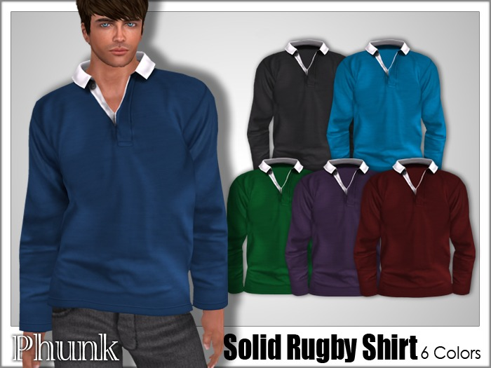 Phunk Mesh Men S Solid Rugby Shirt