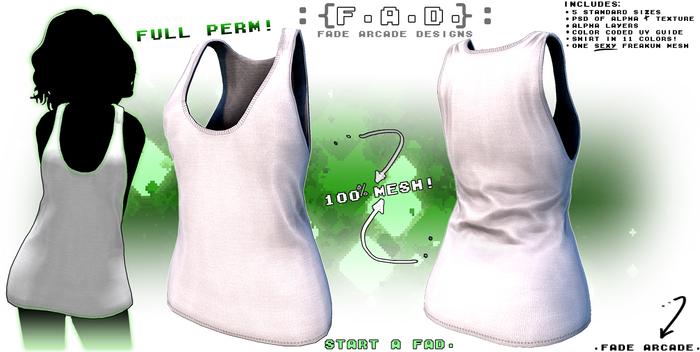 :{F.A.D.}: Full Perm Ladies Long Sleeveless Tank Top Template
