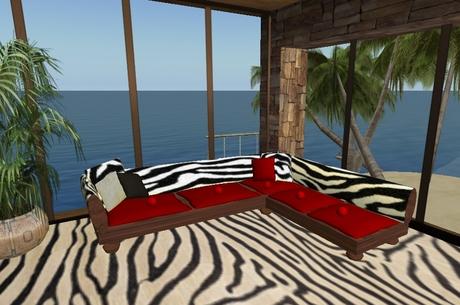 Fp Corner Sofa Zebra Print Red Suede