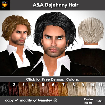 A&A Dajohnny Hair 11 Colors Value Pack. Short sexy wild mens hairstyle