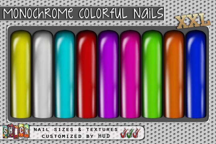 [ S H O C K ] Monochrome Colorful Nails XXL