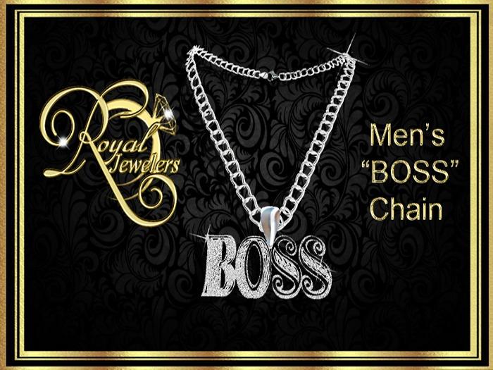 Men's Boss Chain - Platinum Resizable  (Boxed)