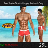 ::BASHY:: Reef Swim Boxers  Poppy Red and Gray (WEAR TO UNPACK)