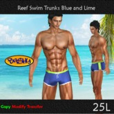 ::BASHY:: Reef Swim Boxers Blue and Lime (WEAR TO UNPACK)