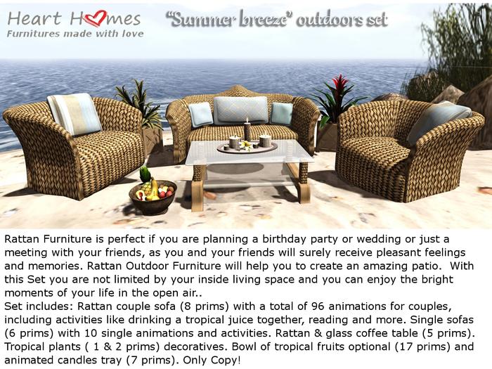 """Heart Homes """"Summer Breeze"""" rattan outdoor set (COPY, BOXED)"""